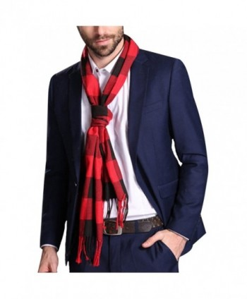 Maying Holiday Soft Men's Scarf in Rich Plaids Couple's Soft Shawl - Red - C812NRSBZZ0