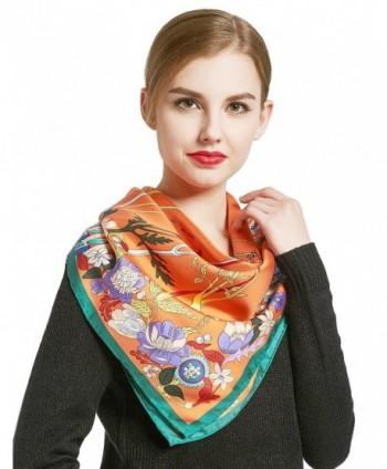 Silk Scarf Head Scarf Hip Scarf Large Satin Square Hair Scarfs for Fashion Women - Orange - CC188ZG6MKO