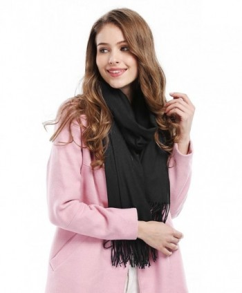 Women Solid Soft Cashmere Feel Shawl Wrap Scarf - Black - CL12629LR0V
