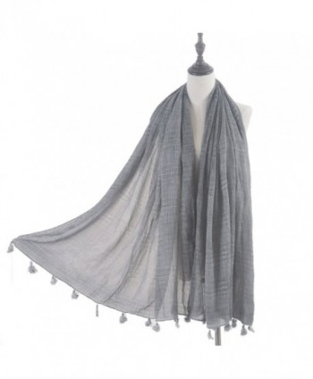 Aquazolax Women Soft Solid Color Checked Long Scarf Shawl with Tassel - Light Grey - CG1872NMUA7