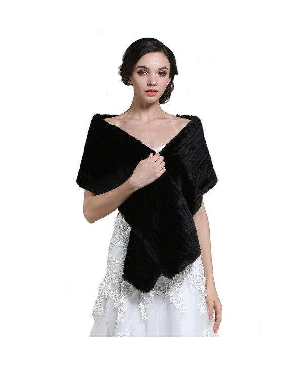 Aukmla Women's Fur Shawls and Wraps for Wedding Bride - C412MFGUJSB