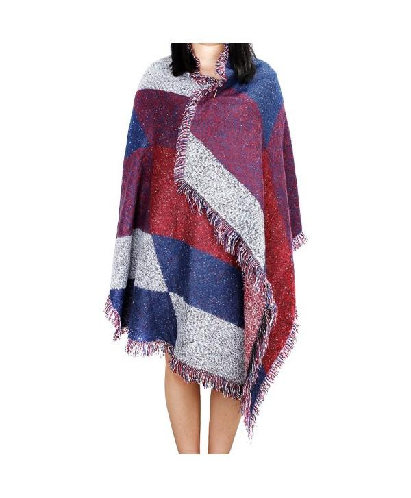 MaxMaxi Wool Spinning Tweed Asymmetrical Scarf Block Stripe Plaid Shawl Wraps - Wine Red - CF126LBJBLH