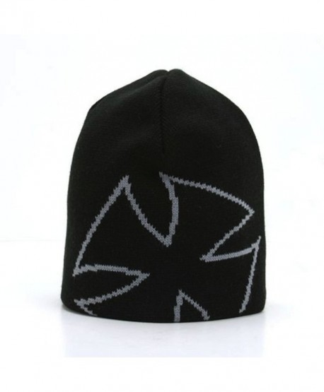 Magic Apparel Giant Cross Design Knit Beanie Cap (4 Color Choices) - Black/Grey - C4110DL2VX7