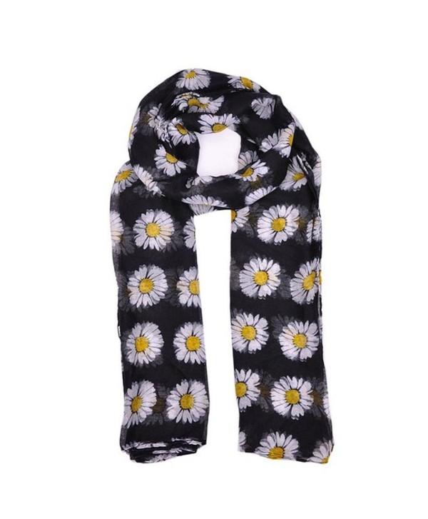 LUNIWEI Womens Daisy Flower Print Soft Scarves (Black) - CM120NEKZOZ