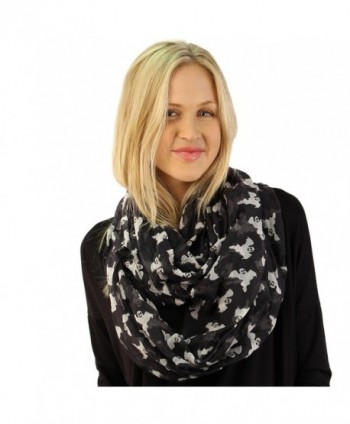 BOO Ghosts Happy Halloween Soft Light Wide Loop Circle Infinity Scarf Wrap - Black - CW12N1HB9EV