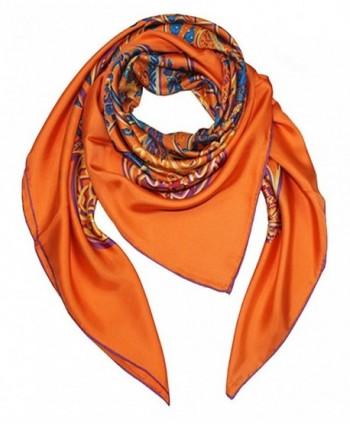 Helan Women's Real Natural Silk 140 X 140 cm Square Scarves - Orange Floral - CQ12MR68PVR