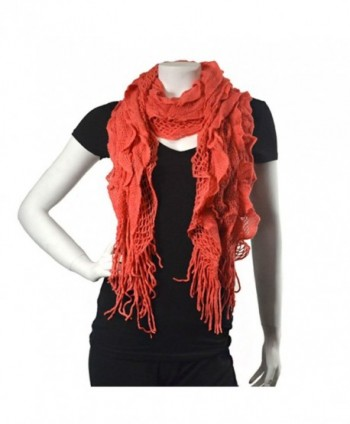Purse babe Womens Net Chain Knitted Chunky Curly Scarf shawl With Lace And Fringe - Coral - C311QIFRWD1
