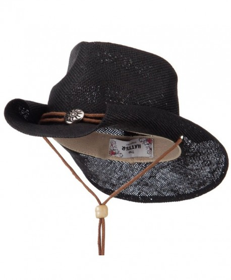 Fashion Straw Cowboy Hat with Chin Cord - Black W34S38F - C211E8U3LRJ