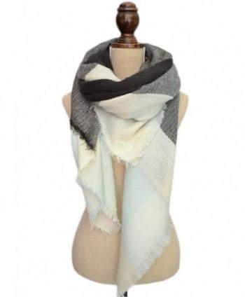 Women's Square Plaid Scarves Classic Cozy Tartan Blanket Wraps Shawls - Clolr3 - CZ182L05LD8
