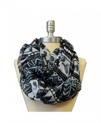 SCARF_TRADINGINC Light Weight All Season Printed Infinity Scarf - Black White - C011NLBIS9H