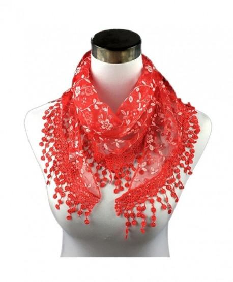 Iusun Soft Lace Tassel Sheer Burntout Floral Print Scarf Shawl Triangle Mantilla Wrap - Red - CC12N4Q1T5W