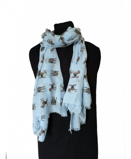 Pamper Yourself Now Women's Beagles Long Scarf - Blue - CA12I83Y1WZ