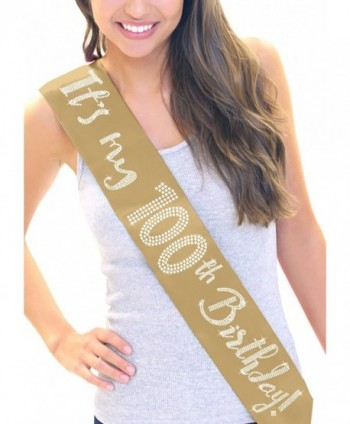 It's My 100th Birthday! Women's Rhinestone Sash by RhinestonSash.com - Gold - CF12J6LR2FL