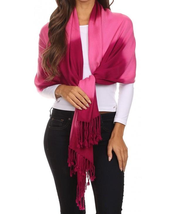 Sakkas Vicki Trendy Ombre Stripe Tie Dye Pashmina/ Shawl/ Wrap/ Stole - Berry - CW124T29A33