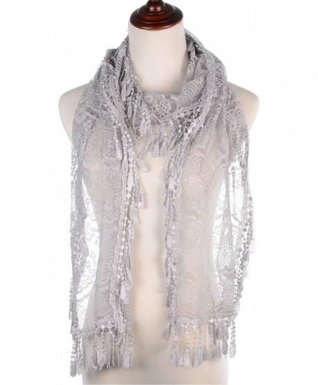 BYOS Womens Delicate Victoria Vintage Inspired Fan Pattern Lace Scarf - Silver Gray - CQ17Z5H6227