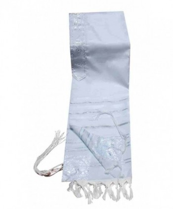 Acrylic (Imitation Wool) Tallit Prayer Shawl in White and Silver Stripes Size 18 x 72 - CP115BXO3T7
