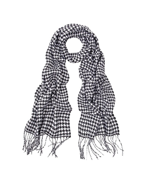 Classic Premium Houndstooth Infinity Loop & Oblong Fringe Scarf - Diff Colors - Oblong Black/White - CO120X8SJUX