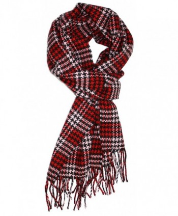 Ted and Jack - Cashmere Feel Tweed Look Houndstooth - Red and Pink - CN126Y1UTGZ