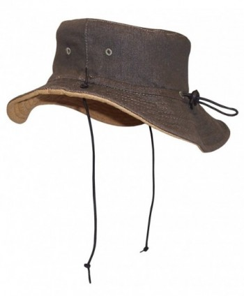 N'Ice Caps Adults Unisex Distressed Denim Reversible and Adjustable Sunhat - Olive / Tan - CL12E1L72GF