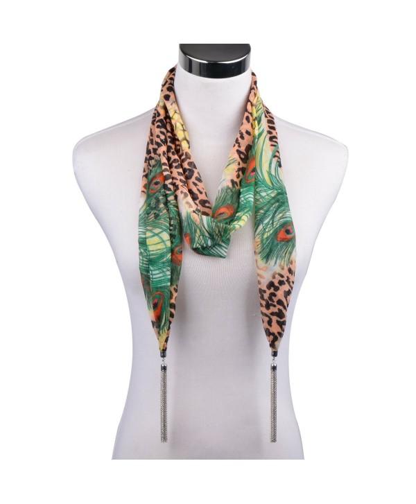 LERDU Women's Long Silk Chiffon Necklace Scarves Floral Print Funky Tassel Scarves - 18-green - C5127KWCBIV