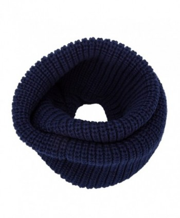 YCHY Women's Soft Thick Knitted Scarf Winter Warm Wrap Circle Loop Infinity Scarves - Navy Blue - C512N2LGR5L