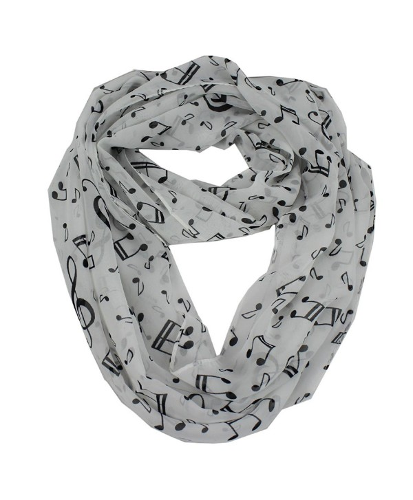 Women's Musical Note Print Chiffon Soft Infinity Loop Cowl Casual Ladies Scarf - White - CU124J2ZF5V