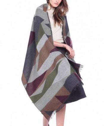 Afibi Women's Long & Wide Scottish Clan Tartan Plaid Shawl Winter Warm Scarf - Green - CP184X9GSHY