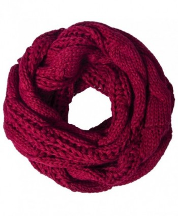 Loritta Womens Winter Warm Ribbed Thick Knit Infinity Scarf Circle Loop Cowl Scarf - Red Wine - CA1859DWQMN