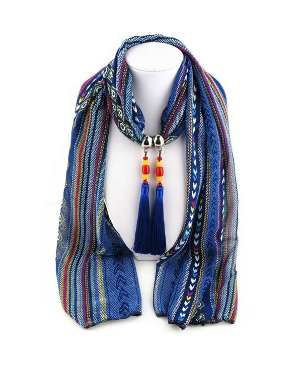 Ysiop Women Chiffon Geometric Scarf Necklace Vintage Bohemia Tassel Neckwear - Blue - CH12GMZK0FN