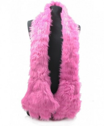 AN- Fun Accessory Fleece Lined Furry Faux Fur Scarf Stole with Monster Claws Paws Pockets Mitten - Hot Pink - CT12CGQMKHN