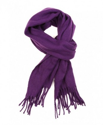 Sakkas Booker Cashmere Feel Solid Colored Unisex Winter Scarf With Fringe - Purple - CR127BWLSJN
