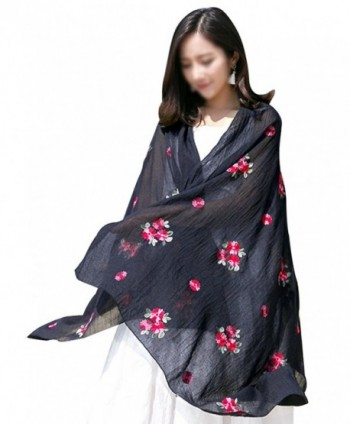 Women Exotic Style Floral Embroidery Silk Scarf Cotton Linen Pashmina Shawl Wrap Scarves - Black - C6184WIQKRT