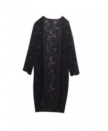 Floral Burnout Velvet Dress Kimono Cardigan - 28navy - CF188TMMN7G