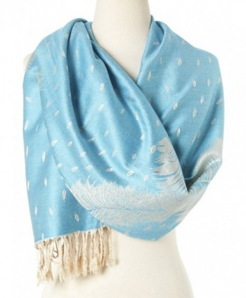 Double Layer Reversible Paisley Fringe Pashmina Shawls and Wraps for Women - 7 Baby Blue - CJ12ENEYTAB