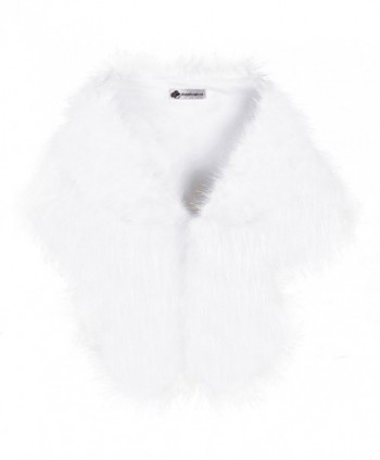Pulula WISREMT Women's Elegant Faux Fur Shawl Wrap Shrug Fur Stole Wedding Bridal Evening Cover Up - White - CM188YSMCC4