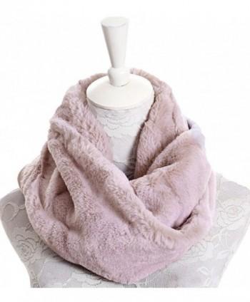 Plush Infinity Scarves For Women Girls Fleece Neck Warmers Circle Loop Scarf - Beige - CC188TYUKMA