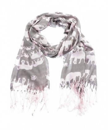 Hand By Hand Aprileo Women's Animal Pashmina Scarf Wrap Elephant Shawl Wrap - Pink. - CJ12GUFVJYB