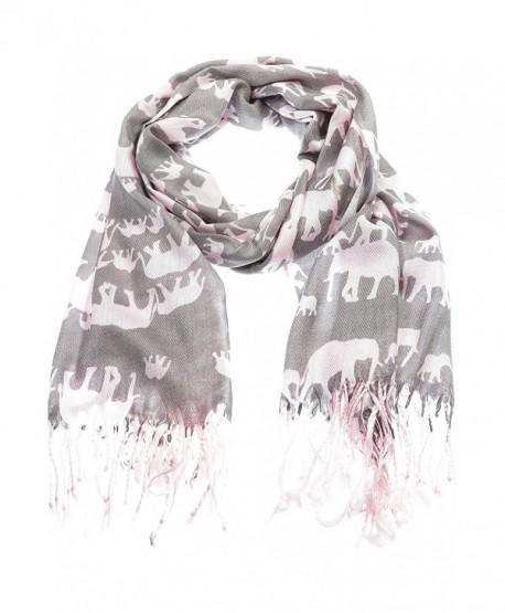 Hand By Hand Aprileo Women's Animal Pashmina Scarf Wrap Elephant Shawl Wrap - Pink. - CJ12GUFVJYB