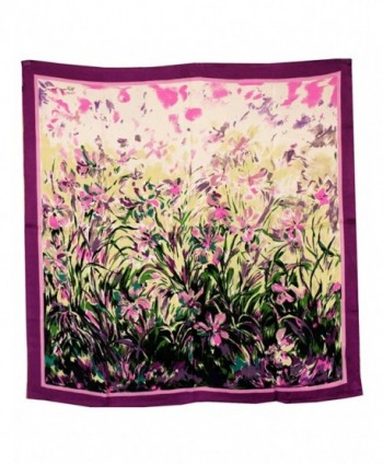 Dahlia Women's 100% Square Silk Scarf - Laurent Monteil Irises Painting - Purple - Laurent Monteil's Irises - CP11CMOXIOT