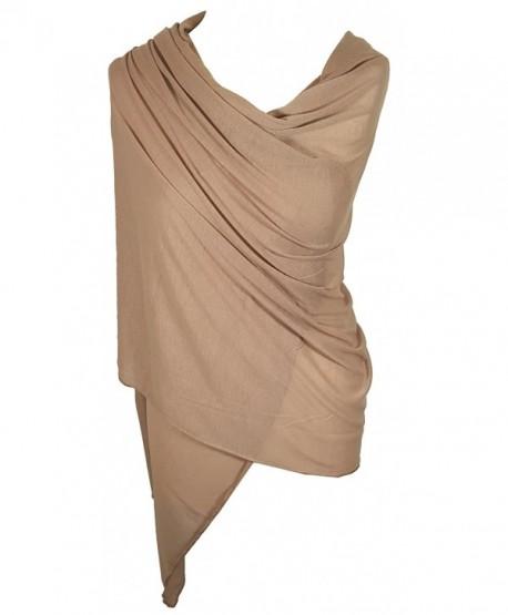 Ladies Jersey Scarf Wrap Stole Warm Soft Stretchy - Beige - CT12MY1BI6X