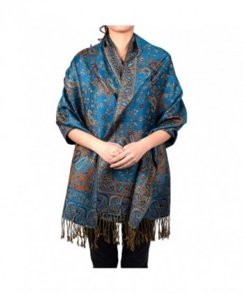 Paisley Floral Branches Pashmina Scarf Shawl Wrap - Turquoise - CP12NA6G7F5