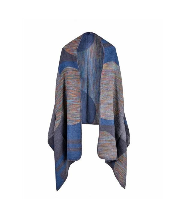 Bakerdani Women's Color Long Shawl Wrap Poncho Cape Cardigan Coat Shawl - Grey2 - CW187M6D9EO