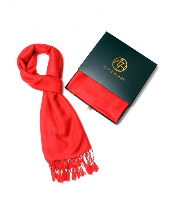 Alice Blake Premium Paisley Pashmina Scarf Shawl Wrap w/FREE Gift Box - Red/Red - C217YI6AAUX