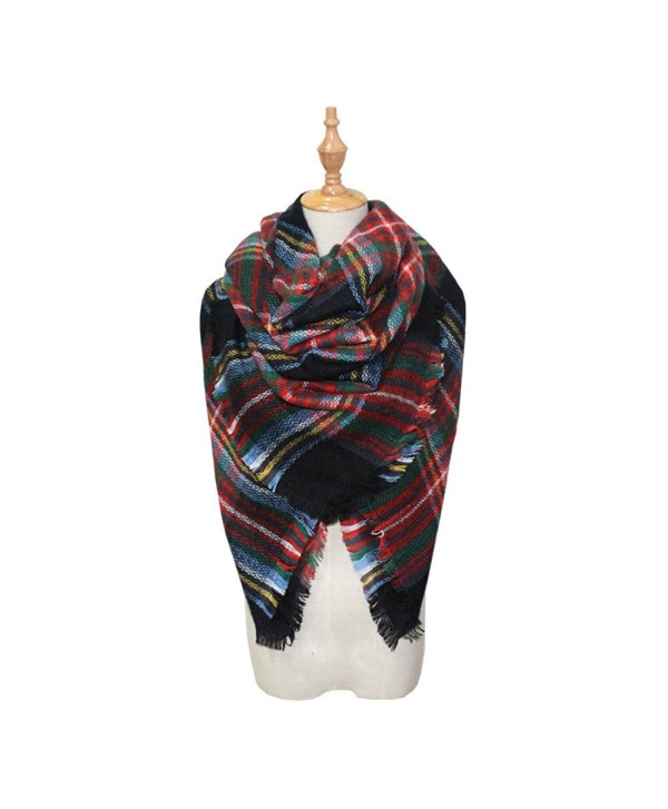 Women's Trendy Plaid Scarfs Warm Fall Soft Blanket Cozy Tartan Wrap Shawl - Style 08 - CA187AK3Q98