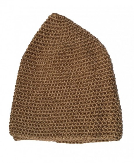 Hand-crocheted Cotton Comfortable Dark Khaki Head Cover Skull Cap Prayer Cap Kufi - CK12I6XUWZ7