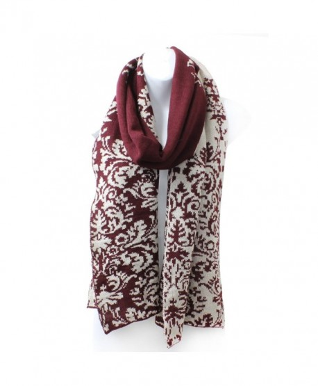 AN Ladies Reversible Renaissance Damask Winter Knit Scarf - Burgundy Wine - CE12NUEWVWP