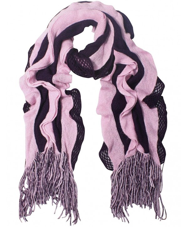 Acrylic Fashion Wavy Ruffle Knitted Tassel Ends Long Scarf Available - Fba - Purple - C4113ZMJSKP