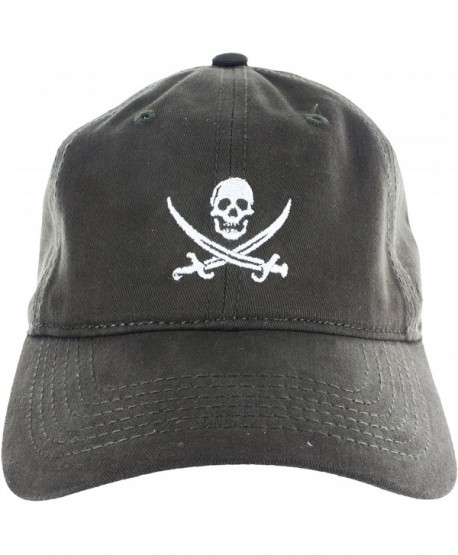 Dad Hat Cap - Jolly Roger Embroidered Adjustable Baseball Cap - Dark Green - CV12HX6YQG9