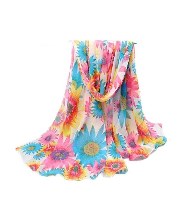 Mullsan Womens Floral Sunflower Print Silk Great Nature Pattern Scarf - Red/Blue Flower - CA11VU7NDQ7
