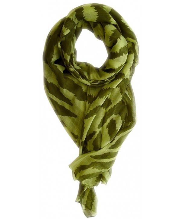 Peach Couture Zebra Print Trendy Animal Print Fashion Graphic Shawl Wrap Scarf - Green Forest Green - CA11L1OEKRZ